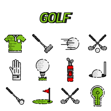 game equipment: Golf game equipment flat icons set isolated illustration Illustration