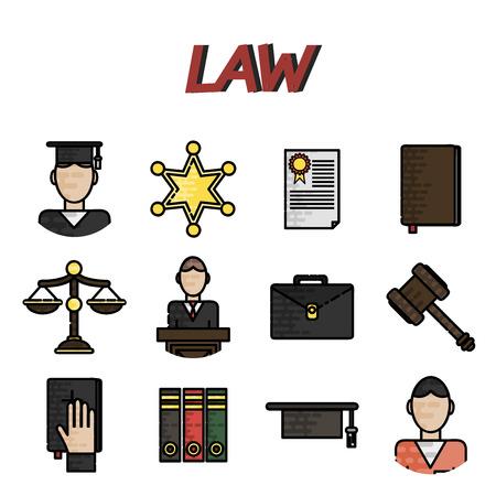 jurado: icono de la Ley de pantalla plana conjunto aislado con el jurado de una corte cárcel abogado de la ilustración