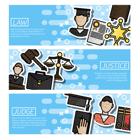 Law horizontal banner set with judical system elements isolated illustration Illustration