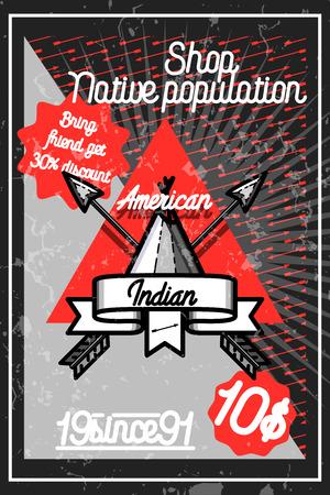 Color vintage american indian poster for your design. Vector illustration Illustration