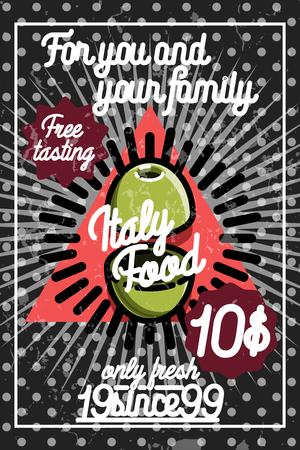 Hand drawn color vintage italy food poster. Concept for, restaurant menu, cafe, fast food, pizzeria. Illustration