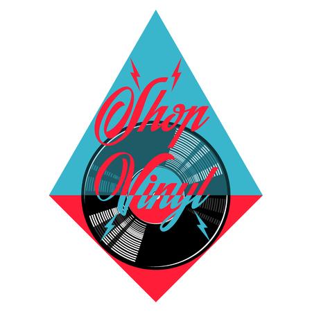 recording studio: Color vintage music shop emblem. For Music shop, recording studio, karaoke club. Design elements isolated on white background Illustration