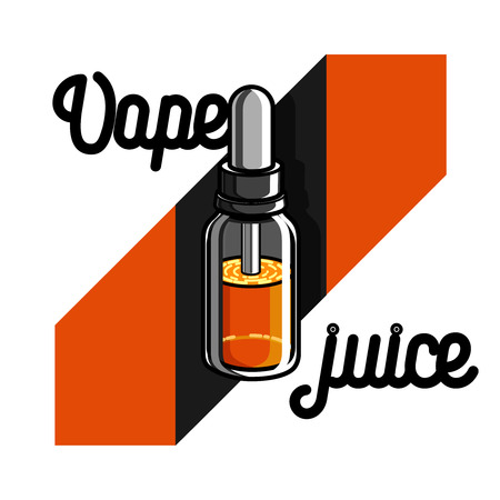 Color vintage vape, e-cigarette emblem on white background