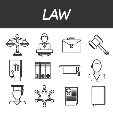 jurado: iconos conjunto de abogados con la ilustración vectorial aislado jurado de una corte cárcel abogado