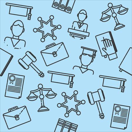 legislation: Law justice, police and legislation icon sketch pattern vector illustration