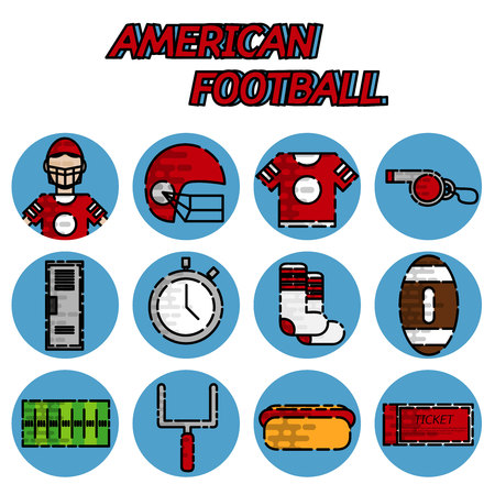 quarterback: American football flat icons set. Helmet and sport, touchdown and quarterback, trophy game. Vector illustration Illustration