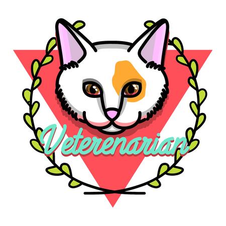 Color vintage veterinarian emblem. Emergency veterinarian symbols. Vector illustration