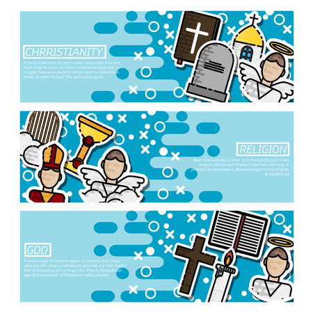 Set of Horizontal Banners about Christianity