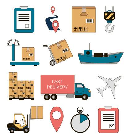 Verzending en levering pictogrammen instellen. Vector illustratie
