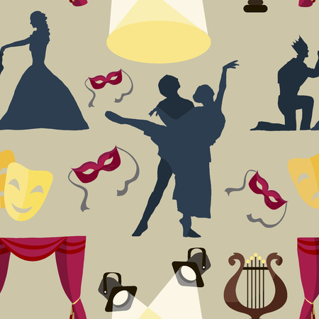 Modello di teatro di recitazione icone delle prestazioni, dramma, commedia, tenda e maschera, tragedia. illustrazione di vettore