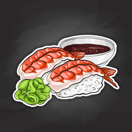 nori: Vector color sticker, Ebi Nigiri Sushi on black background. Sushi symbol stock vector illustration.
