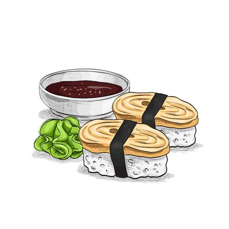 Vector sushi color sketch, Tamago Nigiri Sushi. Sushi symbol stock vector illustration. Vektorové ilustrace