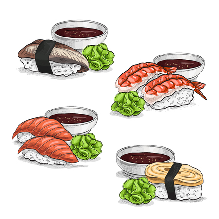 nori: Vector set, color sketch, Nigiri Sushi set on white background. Sushi symbol stock vector illustration. Illustration