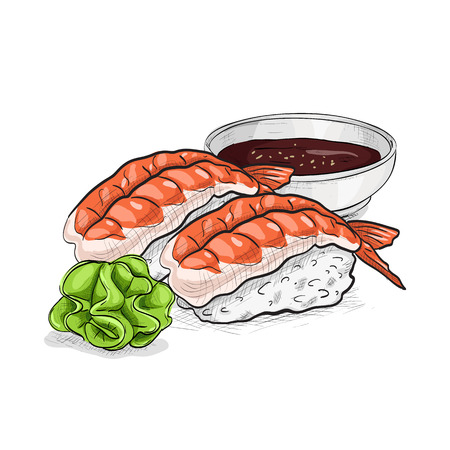 Vector sushi color sketch, Ebi Nigiri Sushi. Sushi symbol stock vector illustration.