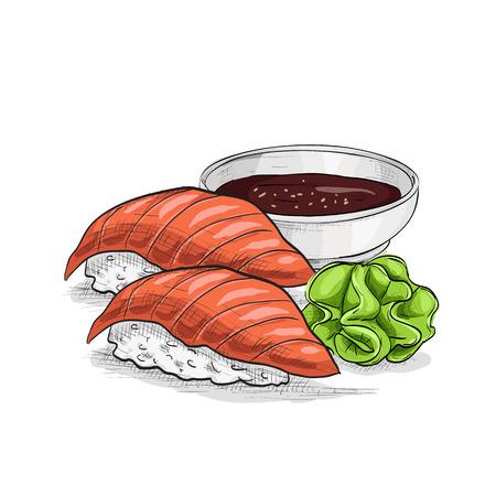 Vector sushi color sketch, Sushi nigiri sake. Sushi symbol stock vector illustration. Vektorové ilustrace