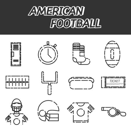 american football helmet set: American football icons set. Helmet and sport, touchdown and quarterback, trophy game. Vector illustration