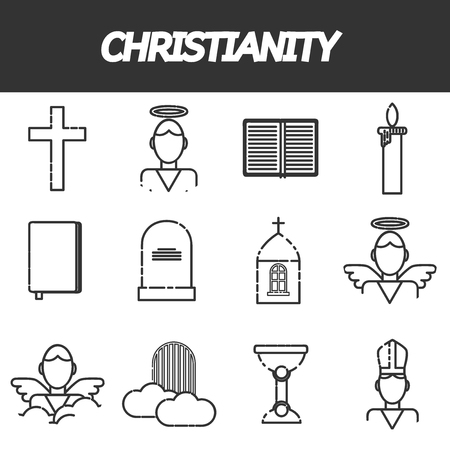 cristianismo: Christianity icons set. Vector illustration
