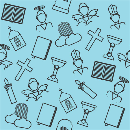 cristianismo: Christianity icons pattern. Vector illustration