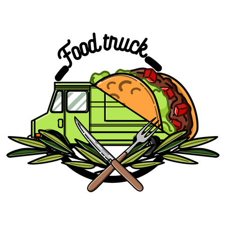 Color vintage Food truck emblem. Vector illustration Illustration
