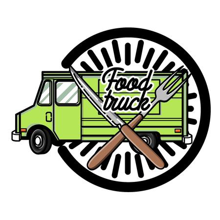Kleur vintage Voedsel truck embleem. vector illustratie