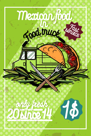 Color vintage Food truck poster. Vector illustration Illustration