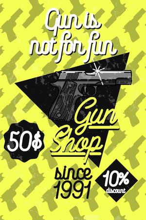 Color vintage guns shop poster. Vector illustration, EPS 10 Illustration