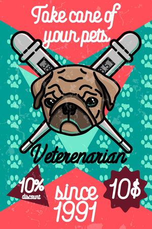 Color vintage veterinarian poster. Emergency veterinarian design. Vector illustration