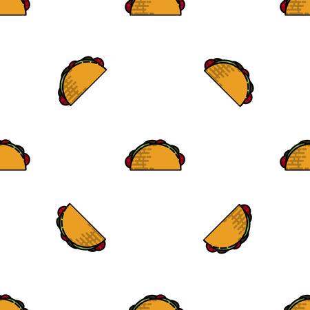 Kleurrijk Tacos vlak patroon. Vector illustratie