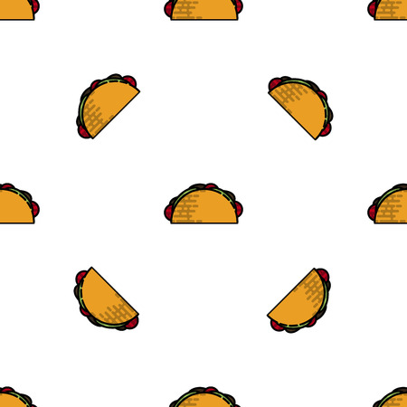 Colorful Tacos flat pattern. Vector illustration