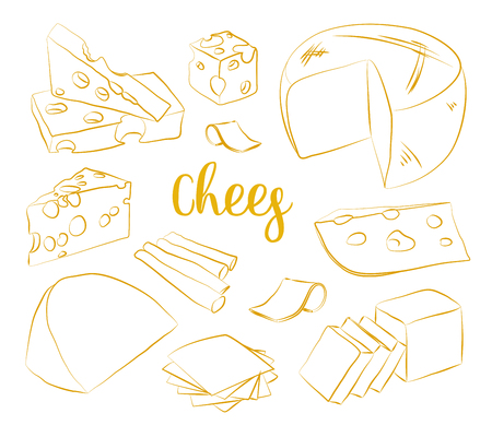 brie: Hand drawn set of chees. Food illustration of parmesan, gouda, blue, edammer, maasdam, brie, mozzarella, roquefort camembert and other Illustration