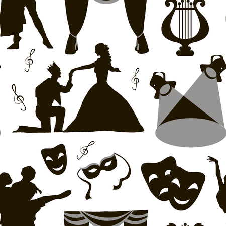 acting: Pattern of theatre acting performance icons, drama, comedy, curtain and mask, tragedy. Vector illustration