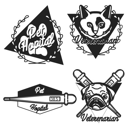 huskies: Vintage veterinarian emblems and logotype elements for pet shop, pet house, pet and animals clinic.