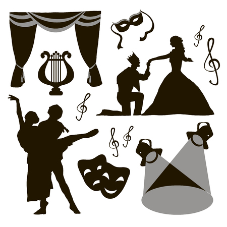acting: Set of theatre acting performance icons, drama, comedy, curtain and mask, tragedy. Vector illustration Illustration