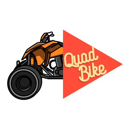 quad bike: Color vintage quad bike emblem. Logo design on a white background