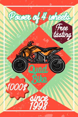 quad: Color vintage quad bike poster. Logo design on a white background