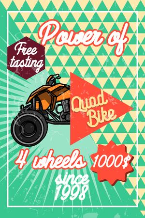 quad bike: Color vintage quad bike poster. Logo design on a white background