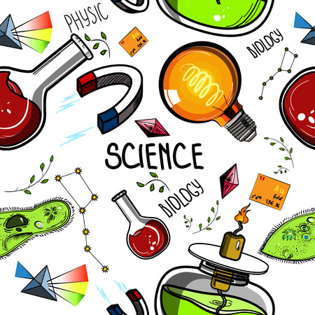 physical exam: Colored Hand drawn science pattern. Sketch elements. Laboratory instruments and chemical formula