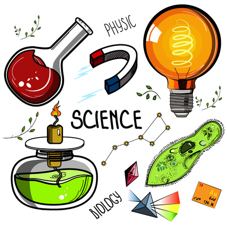 Colored Hand drawn science set. Sketch elements. Laboratory instruments and chemical formula