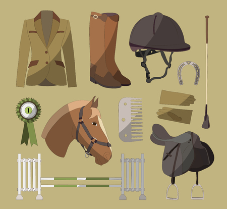 brown horse: Set of different colorful equipment for horses. Equestrian objects. Isolated elements. Cute brown horse.
