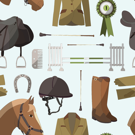 riding boot: Pattern of different quipment for horses. Equestrian objects. Isolated elements. Cute brown horse.