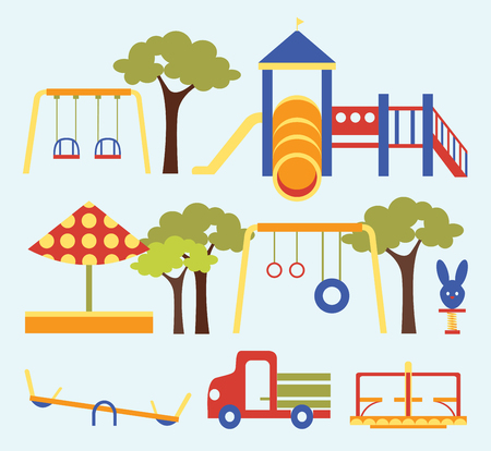 Icons set of different colorful playground equipments. Vector illustration