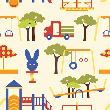 Icons set of different colorful playground equipments pattern. Vector illustration