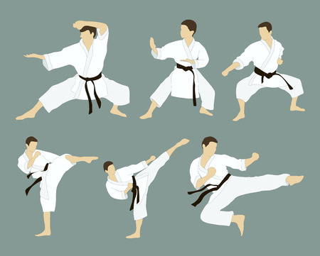 applicable: Set of six vector icons of full body man doing powerful kicks and punches isolated on grey background. Applicable to Karate and Taekwondo.