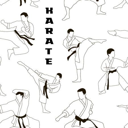 Karaté set pattern. Applicable au Karaté et Taekwondo. Vecteurs