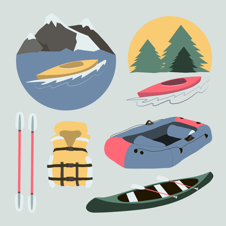 river boat: Rafting and kayaking icons collection. Rafting equipment. Life vest jacket, paddle oar, kayak boat, helmet and gloves vector pictogram in flat design. River boat trip web elements.