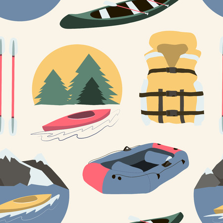river boat: Rafting and kayaking icons collection pattern. Rafting equipment. Life vest jacket, paddle oar, kayak boat, helmet and gloves vector pictogram in flat design. River boat trip web elements.