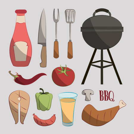 grill tongs sausage: Set of various food barbecue icons. Vector illustration, EPS 10