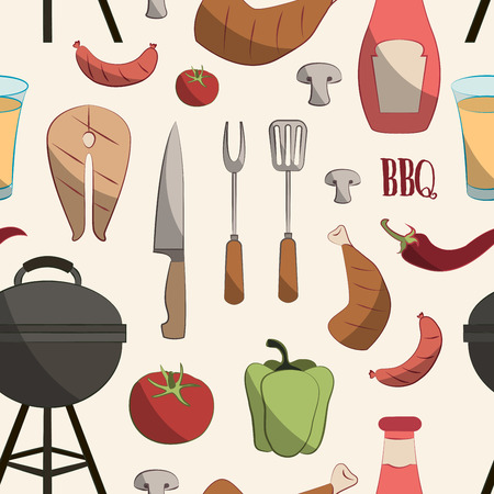 grill tongs sausage: Set of various food barbecue icons pattern. Vector illustration Illustration