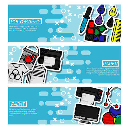 gamma: Set of Horizontal Banners about polygraphy. Spectrum and gamma, technology equipment, ink and palette, vector illustration