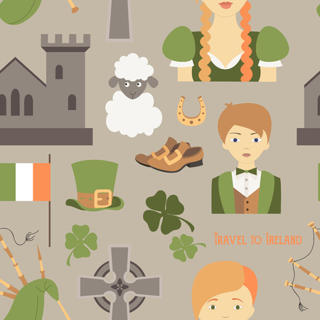 17 march: Travel to Ireland pattern. Vector illustration Sketchy Irish traditional food icons Republic of Ireland elements Flag Map Celtic Cross Knot Castle Leprechaun Shamrock Harp Pot of gold Travel icons. Illustration